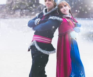 Cosplay Power Couple Anna and Kristoff Cosplayers in Arendelle from Disney's Frozen